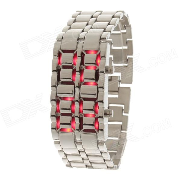 SUOXINI 833 Stylish 8-LED Blue Light Digit Stainless Steel Bracelet Wrist Watch (1 x CR2016)
