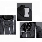 Men's Hooded Cardigan Mixed Colors Sweater - Dark Grey + White (XL)