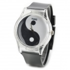 Fashion Yin Yang Pattern Case Plastic Quartz Analog Wrist Watch - Black (1 x 377)