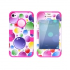 CM04 Colorful Bubble Pattern Protective Silicone Case for Iphone 4 / 4s - White + Deep Pink