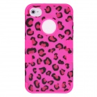 CM001 Leopard Print Pattern Protective Silicone Case for Iphone 4 / 4s - Black + Deep Pink
