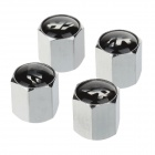YONGXUN Universal Fashionable Aluminum Alloy Car Tire Valve Caps - Silver + Black (4 PCS)