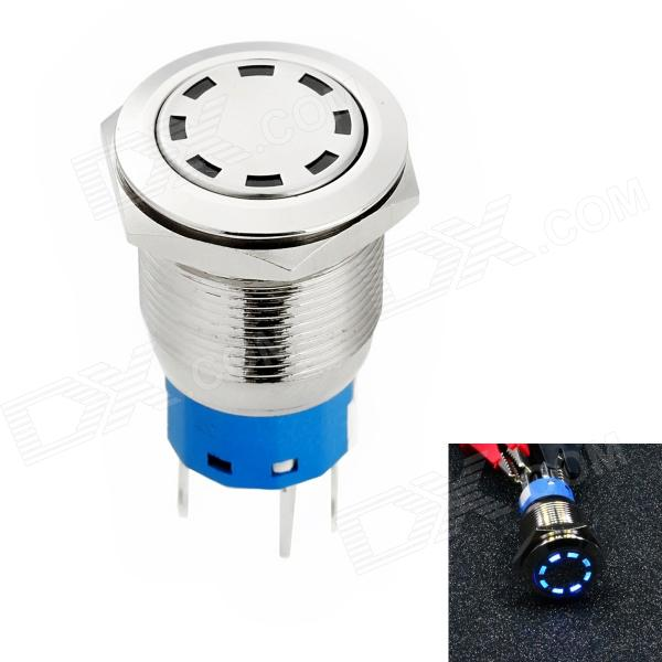 Jtron Automobile Button Switch OFF-(ON) / Self-locking Blue Light - Silver (12V)