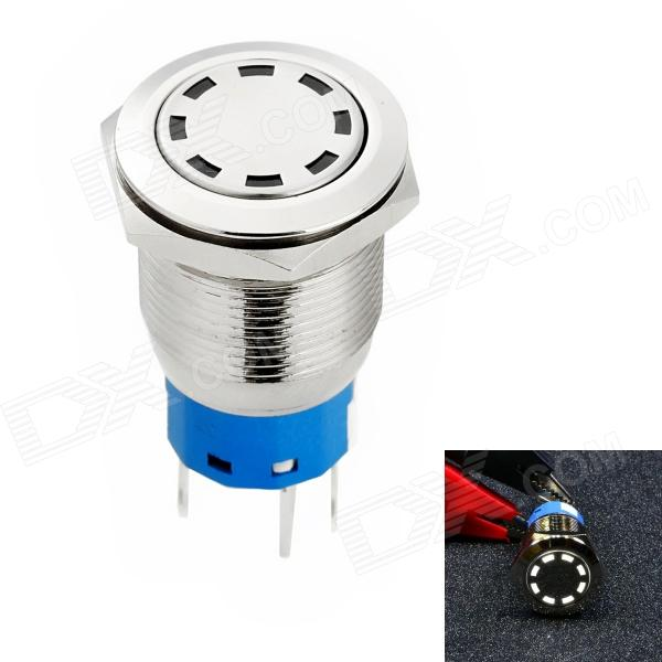 Jtron Automobile Button Switch OFF-(ON) / Self-locking White Light - Silver (12V)