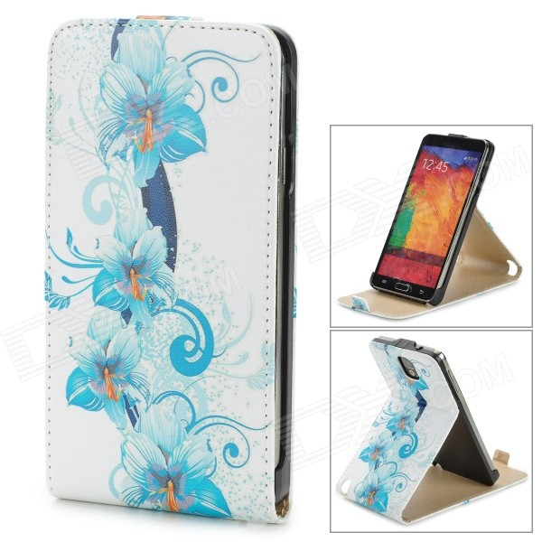 a-336 Flower Pattern Protective PU Leather Case w/ Stand for Samsung Galaxy Note 3 - White + Blue 360 degree rotating protective litchi pattern case w stand for google nexus 7 ii chocolate