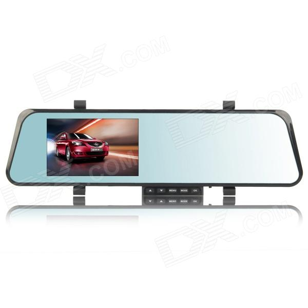 DV170 4.3 TFT LCD 1.3 MP Rearview Mirror Car DVR Camcorder w/ 0.3 MP External Camera - Black 940 0 3 mp 1 3 cmos network ip camera w 2 0 lcd time display black 1 x 18650