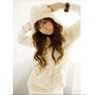 Casual Wool Warm Coat w/ Rabbit Ear Style Hood for Women - White (Free Size)
