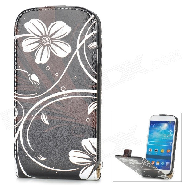 a-336 Flower Pattern Protective PU Leather Case w/ Stand for Samsung Galaxy S4 i9500 - White + Black flower show protective pu leather case w stand visual window for samsung galaxy s4 i9500 black