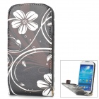 a-336 Flower Pattern Protective PU Leather Case w/ Stand for Samsung Galaxy S4 i9500 - White + Black