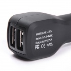 HC-C25 Universal Dual USB Output ABS Car Cigarette Lighter Charger - Black (12~24V)