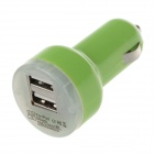 VACART 001 Dual USB Car Cigarette Lighter Power Charger Adapter - Green (12~24V)