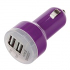 VACART 001 Dual USB Car Cigarette Lighter Power Charger Adapter - Dark Purple (12~24V)