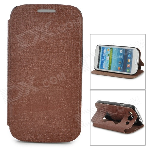 Butterfly Pattern Protective PU Leather Case w/ Stand for Samsung i9300 - Brown butterfly bling diamond case
