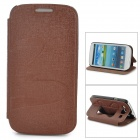 Butterfly Pattern Protective PU Leather Case w/ Stand for Samsung i9300 - Brown