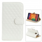 Rhombic Pattern Protective PU Case / Stand for Samsung Galaxy Note 3 / N9000 - White
