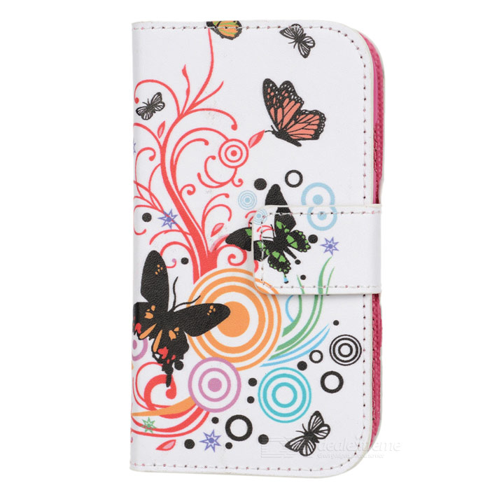 A-557 Butterfly Pattern PU Leather Case w/ Stand for Samsung Galaxy S3 Mini i8190 - Multicolored butterfly bling diamond case