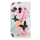 A-557 Butterfly Pattern Flip-Open PU Case Cover w/ Stand - Multicolor