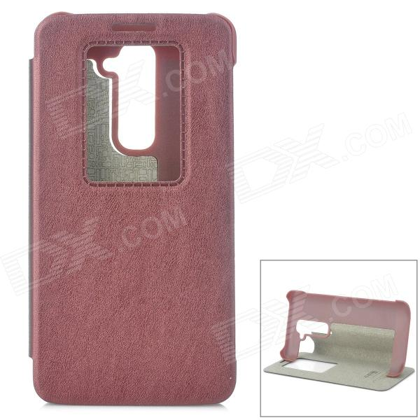KALAIDENG Protective Flip Open PU Case w/ Display Window / Stand for LG G2 - Claret Red protective pu flip open case w display window