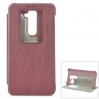 KALAIDENG Protective Flip Open PU Case w/ Display Window / Stand for LG G2 - Claret Red
