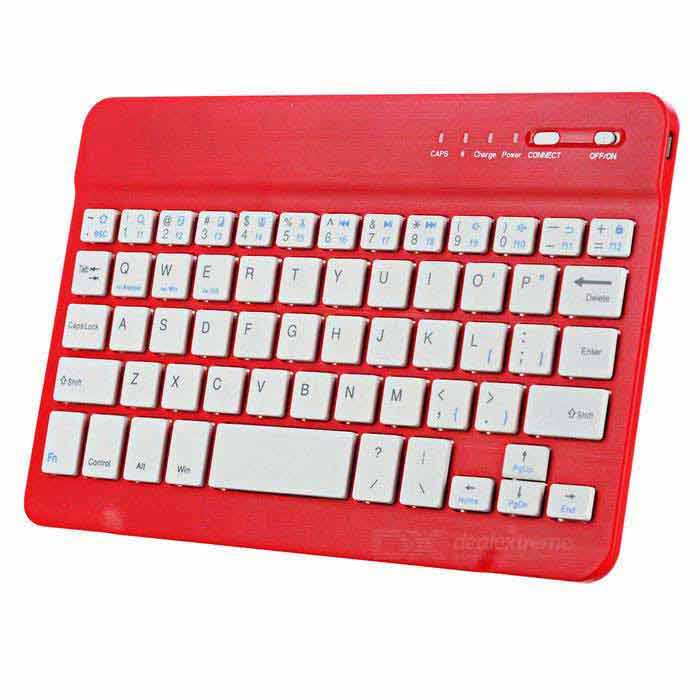 Mini Ultra-thin Universal Bluetooth V2.0 59-key Keyboard for Android - Red + White