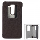 KALAIDENG Flip-Open PU Case w/ Stand for LG G2 - Dark Grey