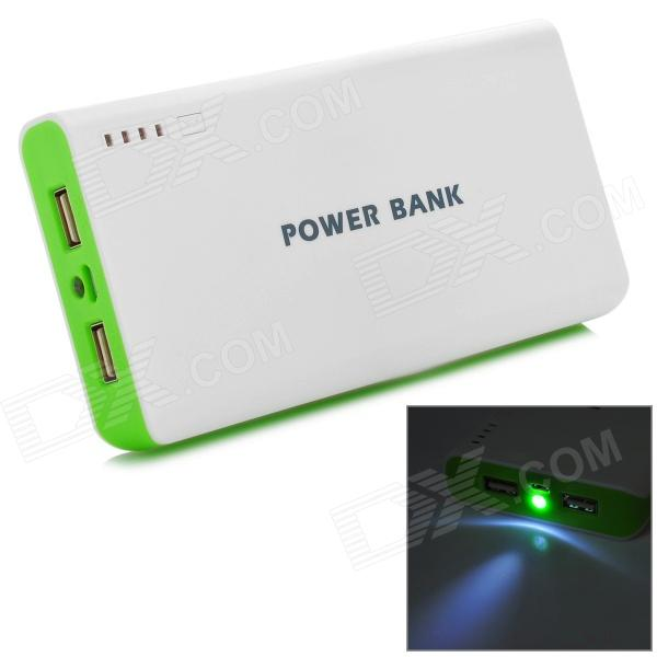 2W-AW 20000mAh Mobile Power Bank w/ LED Flashlight - White + Green 6000mah mobile power bank w led flashlight white grey