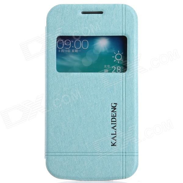 KALAIDENG Protective PU Leather Case Cover Stand w/ Visual Window Samsung Galaxy Trend 3 G3502 -Blue protective pu leather case cover w visual window for samsung galaxy s3 i9300 deep blue