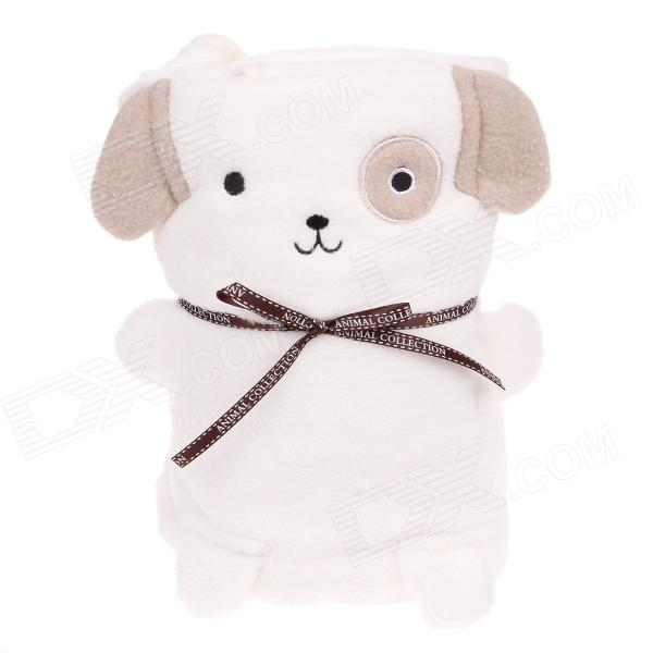 Cute Cartoon Style Dual-use Ultra-soft Short Floss Blanket Pillow - Beige