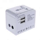 EU / UK / US / AU Plug Travel AC Power Adapter w/ 1A / 2.1A Dual USB - White (AC 100~250V)