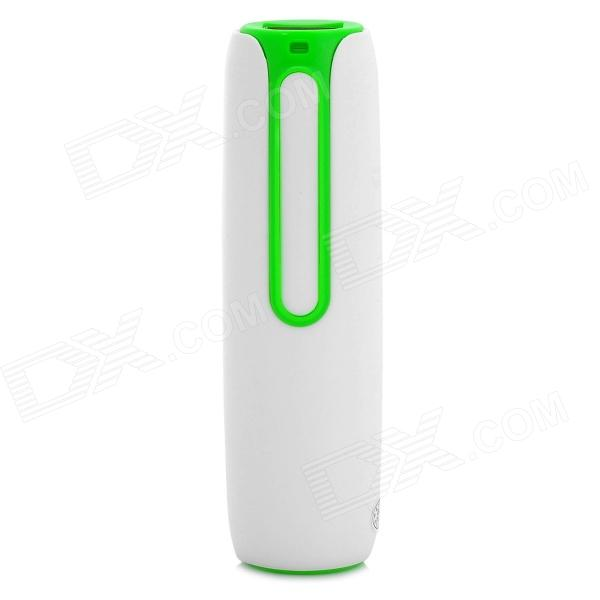 S-What Bullet Head Style 2000mAh Mobile Power Bank - White + Green s what universal portable 5v 2000mah li ion battery power bank white