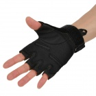 Tactical Cycling Nylon + Microfiber Half Finger Gloves - Black (M)