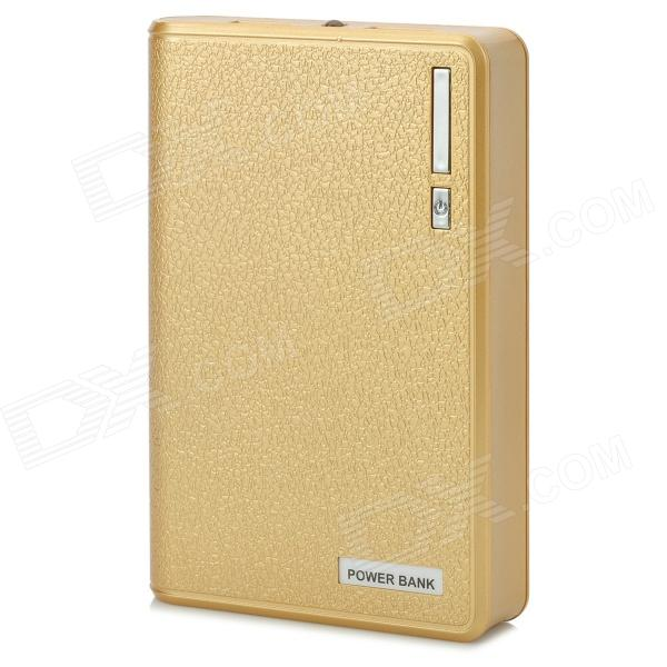 Wallet Style Universal Portable ''12000mAh'' Power Bank w/ USB Cable - Golden (10cm)