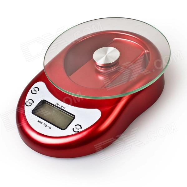 AmoVee WH-B11 1.7 LCD Kitchen Digital Electronic Balance Scale w/ Countdown - Red (11lbs / 5kg)