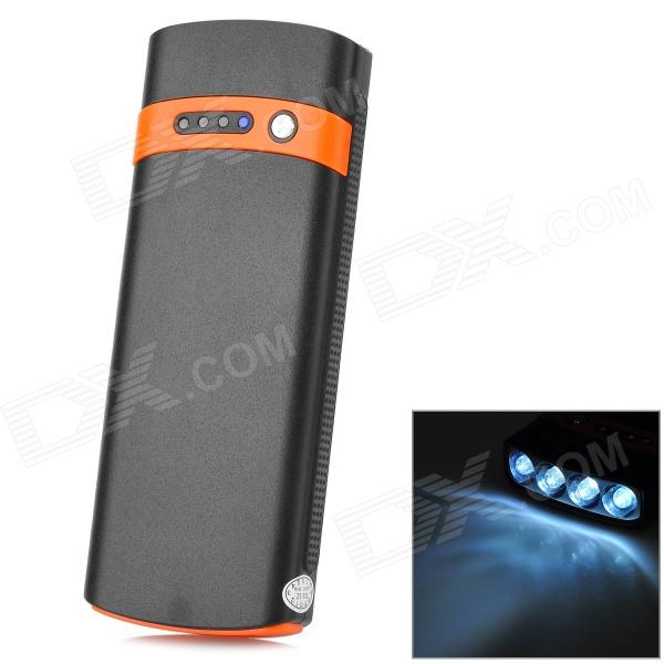 S-What 2600mAh Solar Powered Mobile Power Bank w/ Flashlight - Black + Orange s what piano keys style mobile 13800mah power bank w led flashlight white black