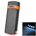 S-What 2600mAh Solar Powered Mobile Power Bank w/ Flashlight - Black + Orange