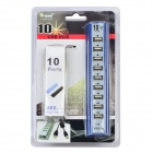 Portable High Speed 10-Port USB 2.0 Hub w/ Independent Indicator - Blue + Antique Silver