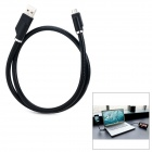 Hard Stainless Steel + Plastic Bending USB to Micro USB Data Charging Cable - Black (65cm)