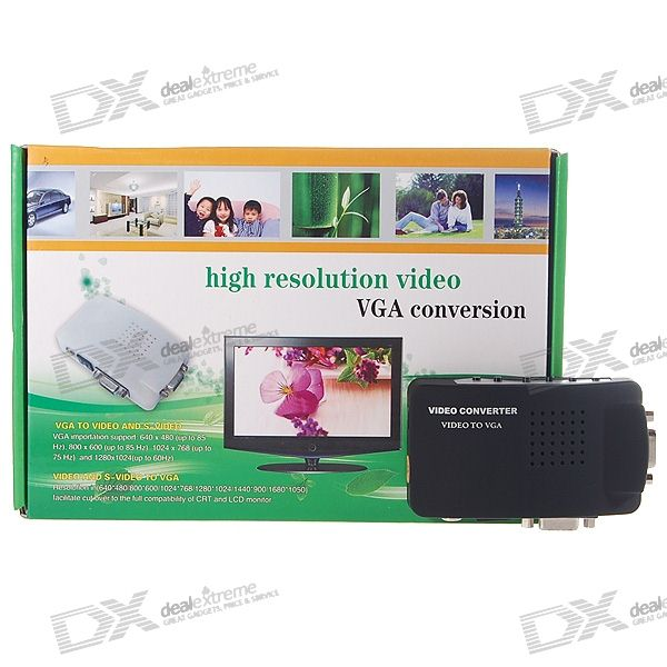 Composite + S-Video vers VGA Converter Box (1280 * 1024px Max/110V ~ 220V AC)