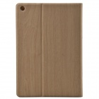 Wood Grain Protective PU Leather + Plastic Case w/ Card Slot for Ipad AIR - Primrose Yellow