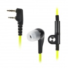 Universal 3.5mm + 2.5mm In-Ear Earphones for K-Connector Walkie Talkie - Green + Black