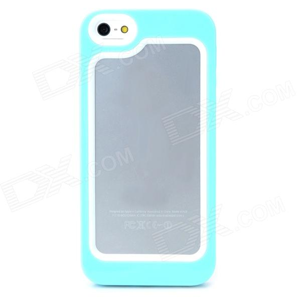 S-What Protective PC + Silicone Bumper Frame Case for Iphone 5 / 5s - White + Light Blue s what protective metal bumper frame for iphone 5 5s deep pink