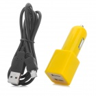 Dual USB Car Cigarette Lighter Charger + USB Data/Charging Sync Cable for Samsung (12~24V)