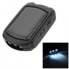 MD966 Mini Solar Powered Charger w/ 3-LED Lamp - Black