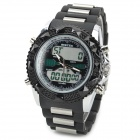 Sport Zinc Alloy Case PVC Band Quartz Analog + Digital Wrist Watch for Men - Black (1 x SR626)