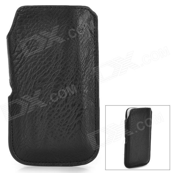 Lychee Pattern Protective PU Case for Iphone 5 / 5s / 5c - Black