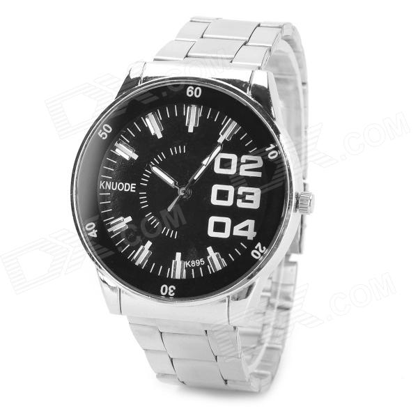 KNUODE Zinc Alloy Case Stainless Steel Quartz Analog Wrist Watch for Men - Black + Silver