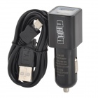 Convenient Dual USB Output Car Charger + Data Sync & Charging Cable for Samsung - Black