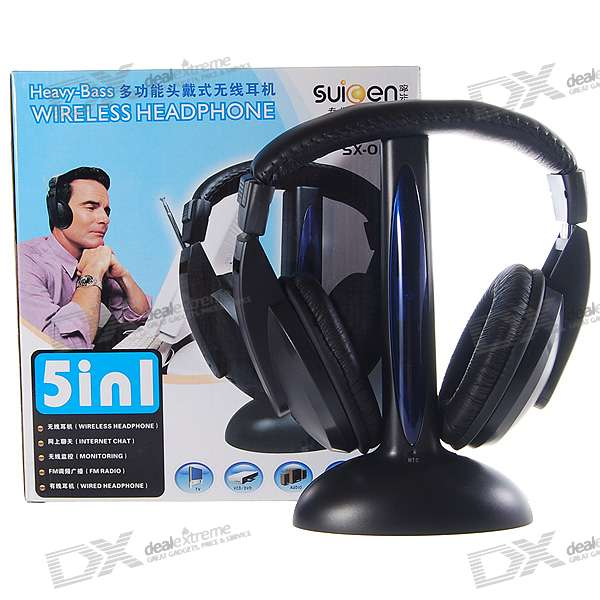 Wireless Stereo FM Radio Receiver Headset with Transmitter Base Station + Remote Monitoring