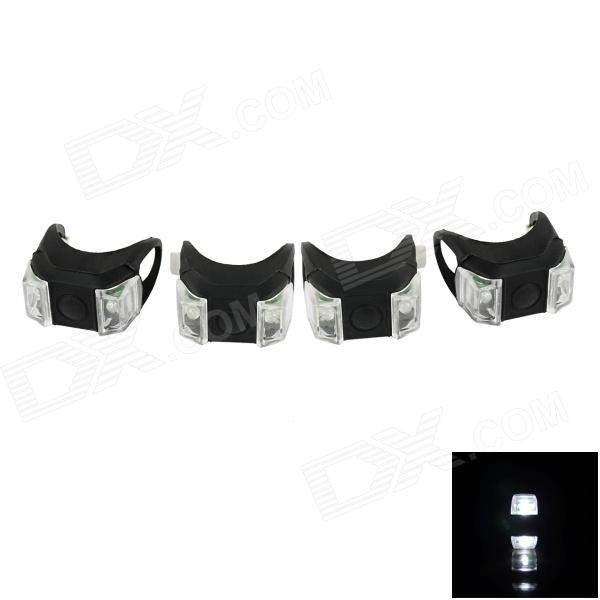 Bicycle 2-LED White Front Safety Light - Black (4 PCS / 2 x 2032)