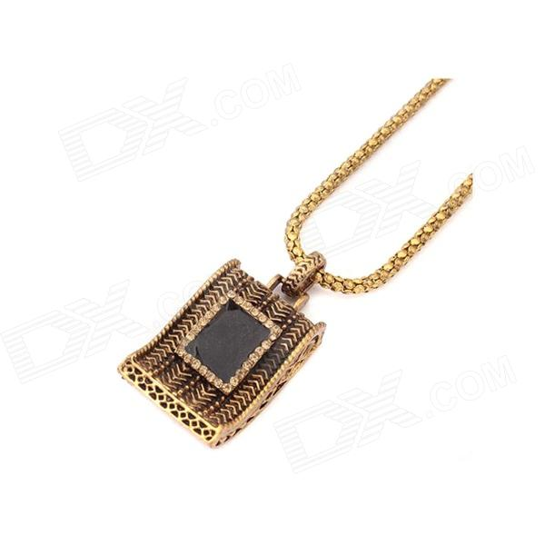 Exaggerated Exotic Geometrical Triangle Pattern Necklace - Antique Copper